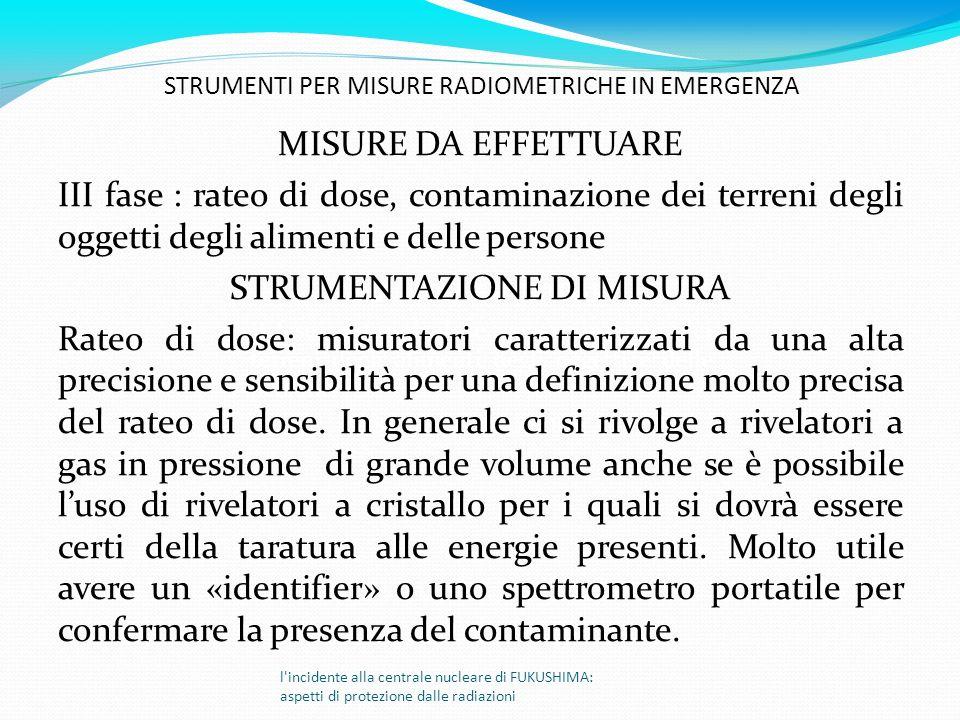 l'incidente alla centrale nucleare di FUKUSHIMA: aspetti di protezione dalle radiazioni MISURE DA EFFETTUARE II fase : rateo di dose, contaminazione d