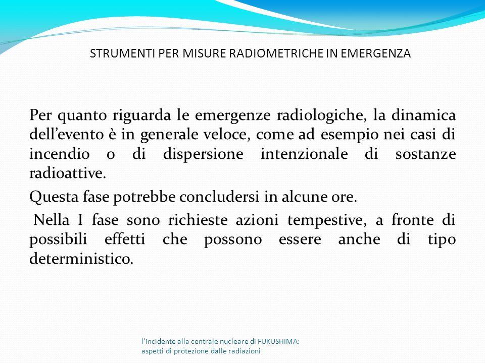 Per quanto riguarda le emergenze radiologiche, la dinamica dellevento è in generale veloce, come ad esempio nei casi di incendio o di dispersione inte