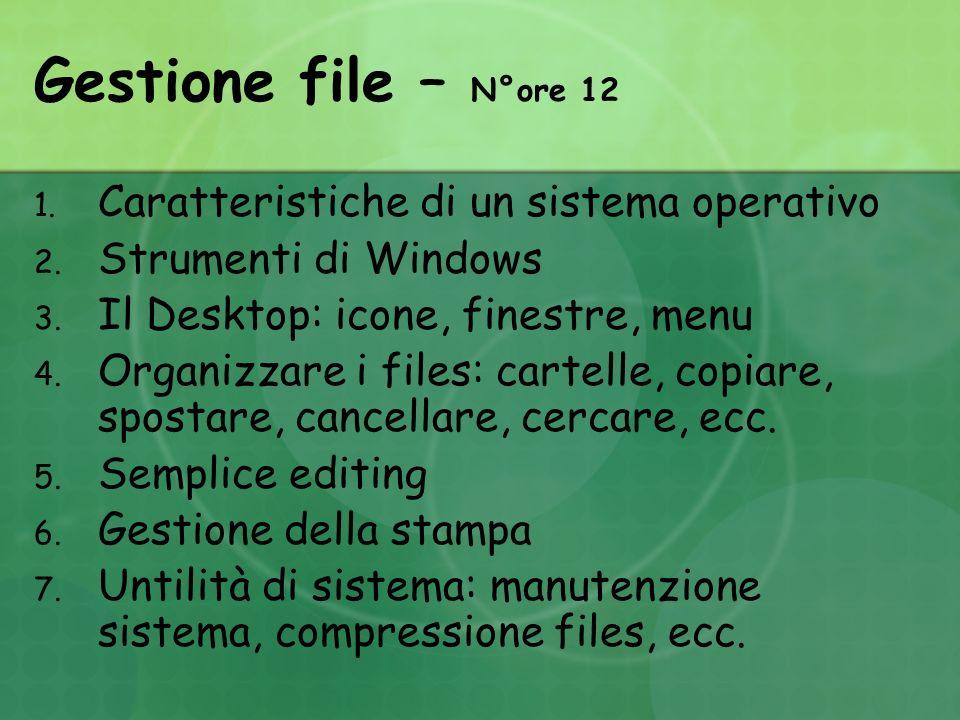 Gestione file – N°ore 12 1. Caratteristiche di un sistema operativo 2.