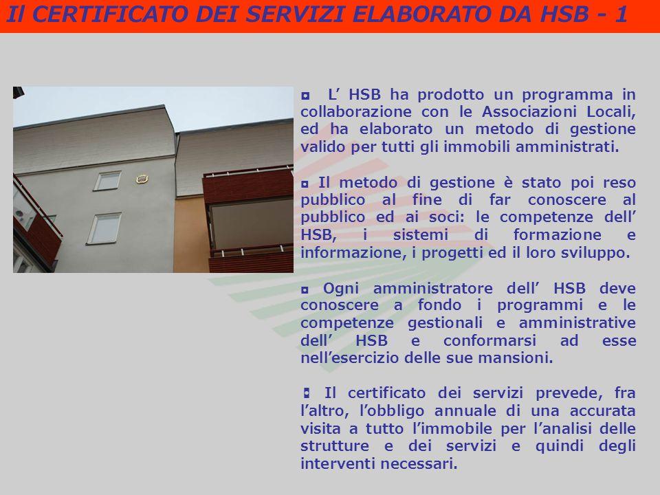 L HSB ha prodotto un programma in collaborazione con le Associazioni Locali, ed ha elaborato un metodo di gestione valido per tutti gli immobili amministrati.