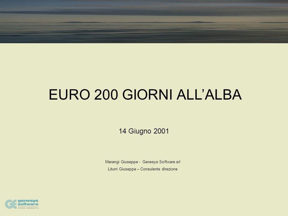 EURO 200 GIORNI ALLALBA Marangi Giuseppe - Genesys Software srl Liturri Giuseppe – Consulente direzione 14 Giugno 2001