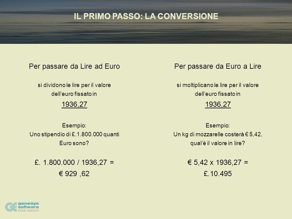 IL PRIMO PASSO: LA CONVERSIONE Per passare da Lire ad Euro si dividono le lire per il valore delleuro fissato in 1936,27 Esempio: Uno stipendio di £.1.800.000 quanti Euro sono.