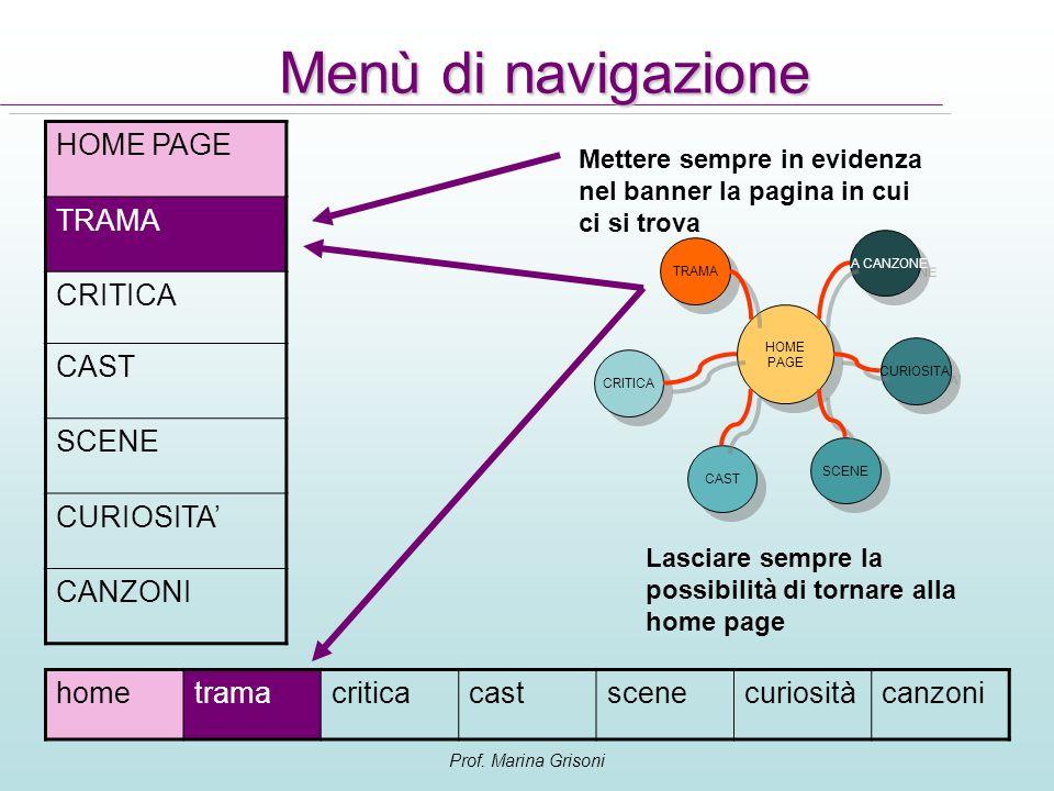 Prof. Marina Grisoni HOME PAGE TRAMA CRITICA CAST SCENE CURIOSITA CANZONI Menù di navigazione HOME PAGE HOME PAGE TRAMA CRITICA CAST SCENE LA CANZONE