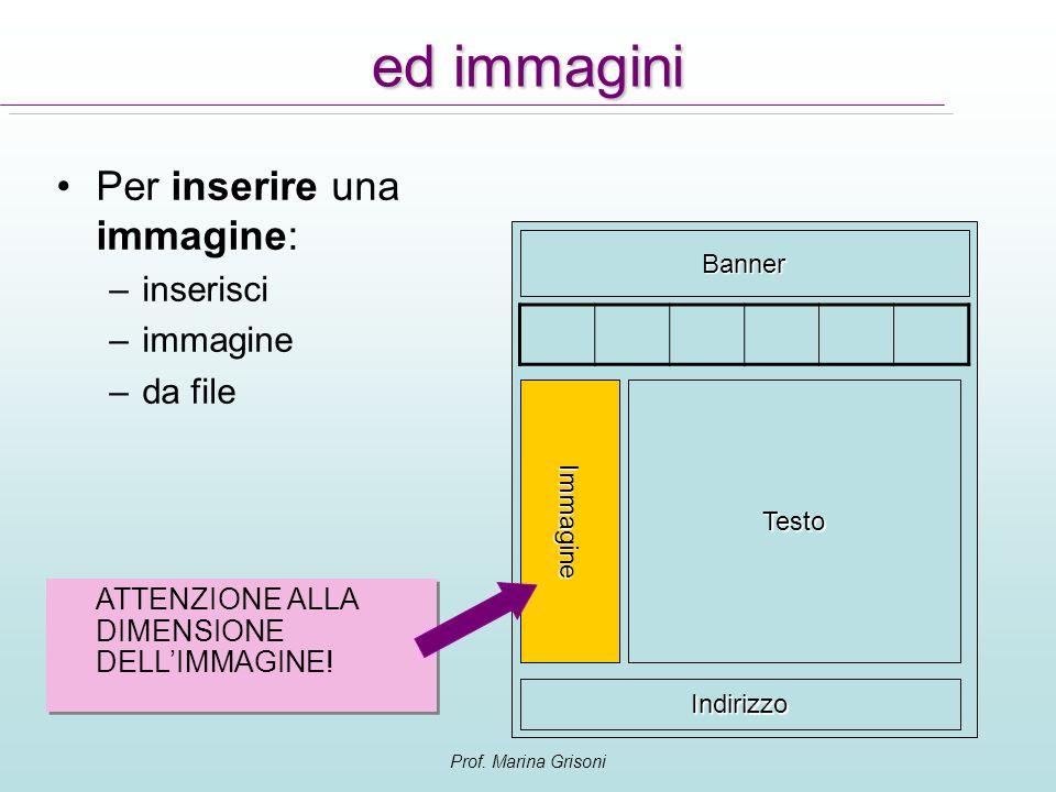 Prof. Marina Grisoni ed immagini Per inserire una immagine: –inserisci –immagine –da file Immagine Banner Testo Indirizzo ATTENZIONE ALLA DIMENSIONE D