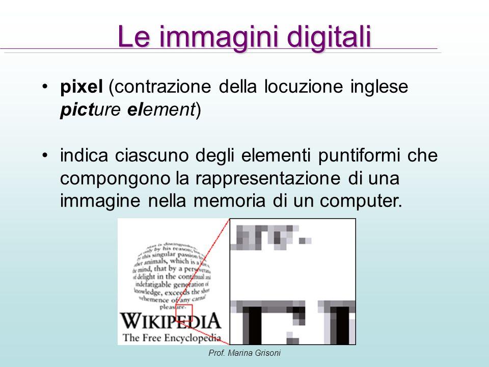 Prof. Marina Grisoni Le immagini digitali pixel (contrazione della locuzione inglese picture element) indica ciascuno degli elementi puntiformi che co