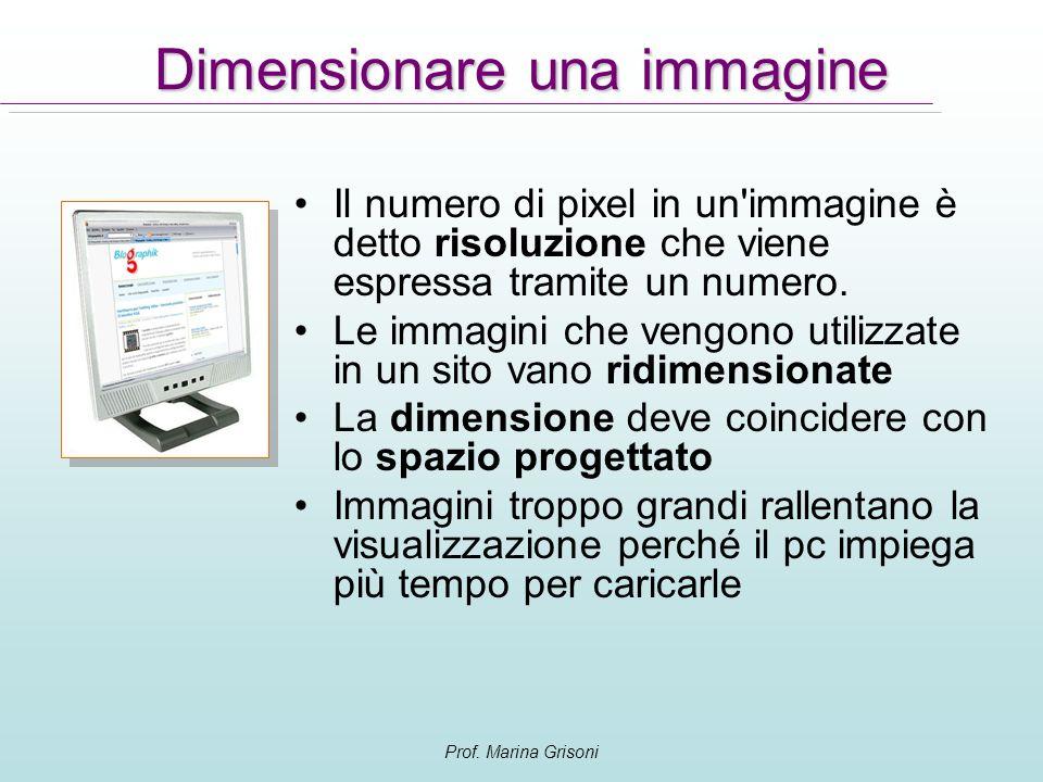 Prof. Marina Grisoni Il numero di pixel in un'immagine è detto risoluzione che viene espressa tramite un numero. Le immagini che vengono utilizzate in