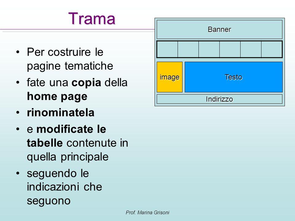 Prof. Marina Grisoni Trama Per costruire le pagine tematiche fate una copia della home page rinominatela e modificate le tabelle contenute in quella p