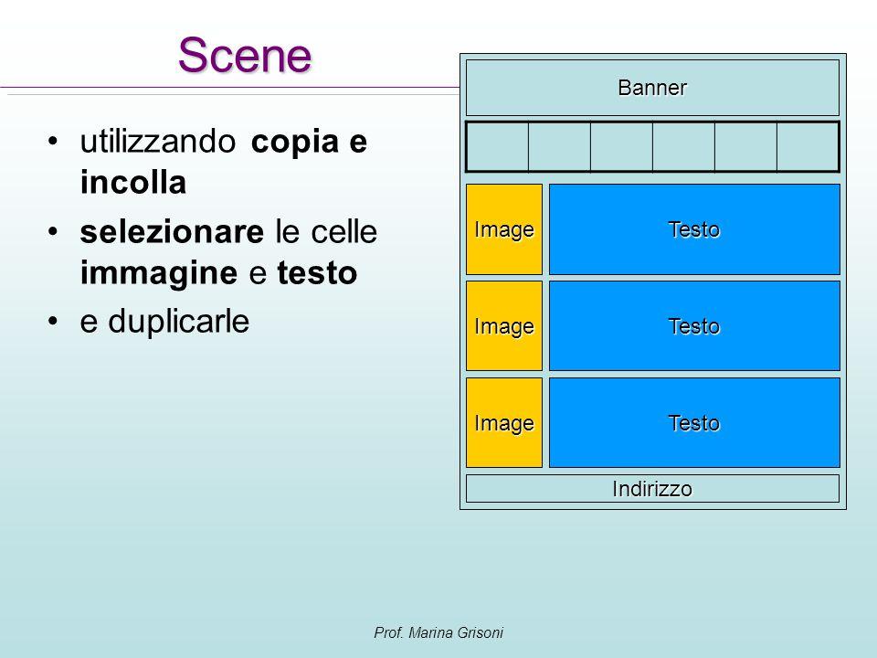 Prof. Marina Grisoni Scene utilizzando copia e incolla selezionare le celle immagine e testo e duplicarle Banner Testo Indirizzo Image TestoImage Test
