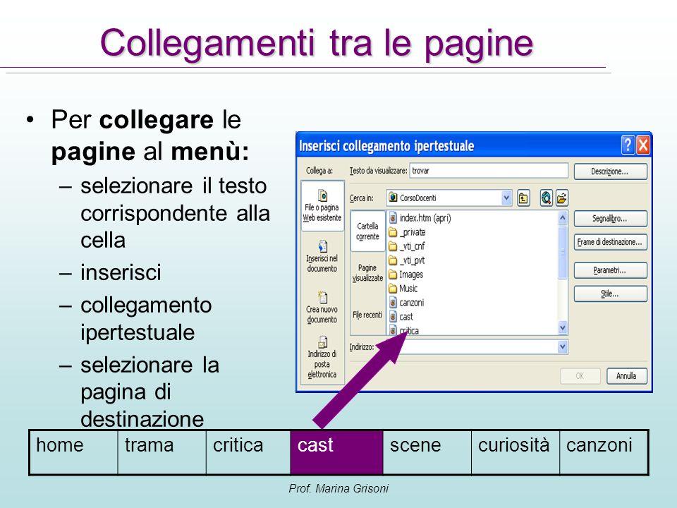 Prof. Marina Grisoni Collegamenti tra le pagine Per collegare le pagine al menù: –selezionare il testo corrispondente alla cella –inserisci –collegame