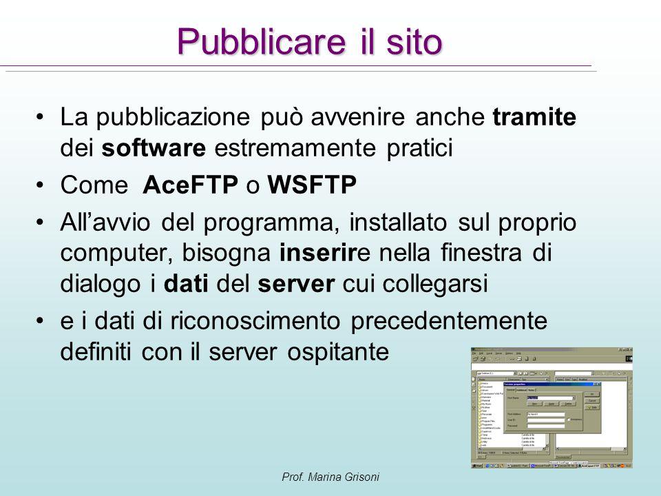 Prof. Marina Grisoni Pubblicare il sito La pubblicazione può avvenire anche tramite dei software estremamente pratici Come AceFTP o WSFTP Allavvio del