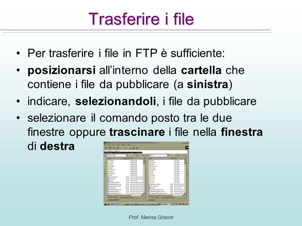 Prof. Marina Grisoni Trasferire i file Per trasferire i file in FTP è sufficiente: posizionarsi allinterno della cartella che contiene i file da pubbl