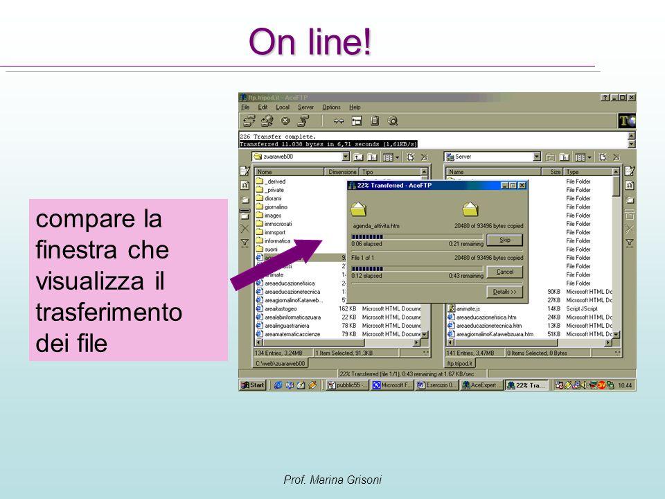 Prof. Marina Grisoni On line! compare la finestra che visualizza il trasferimento dei file