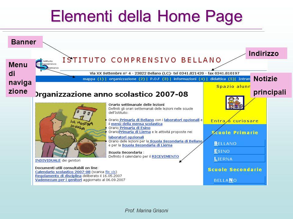 Prof. Marina Grisoni Elementi della Home Page Menu di naviga zione Banner Notizie principali Indirizzo