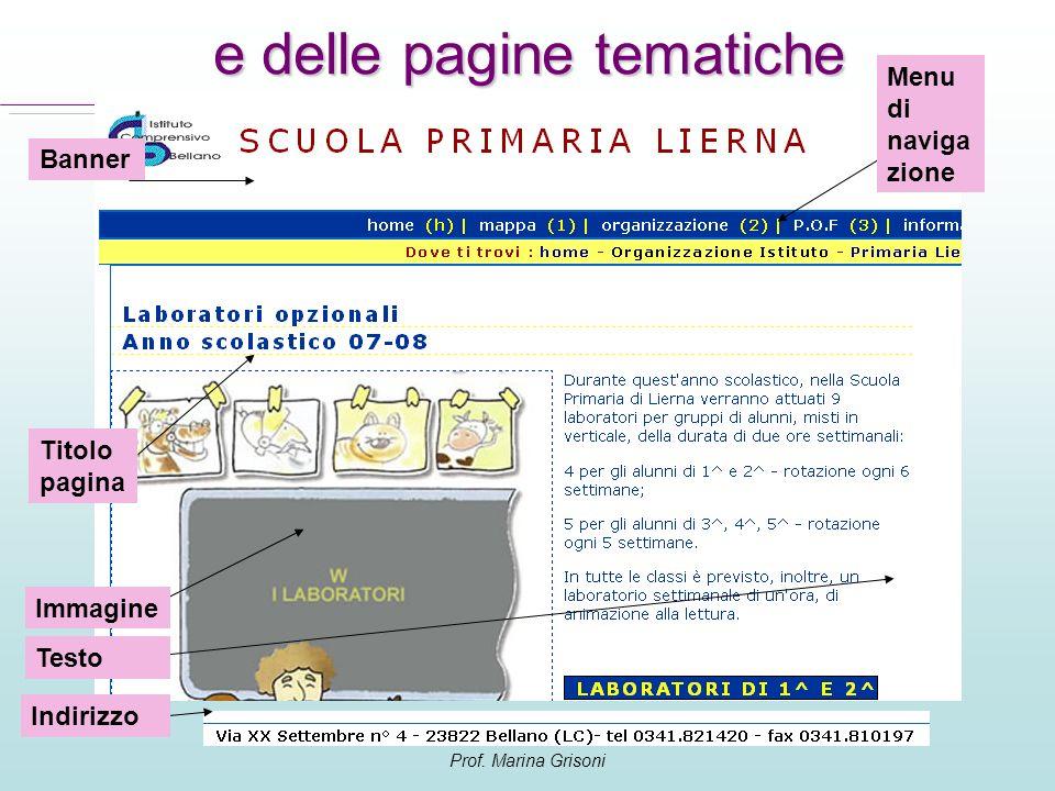 Prof. Marina Grisoni e delle pagine tematiche Menu di naviga zione Titolo pagina Immagine Testo Indirizzo Banner
