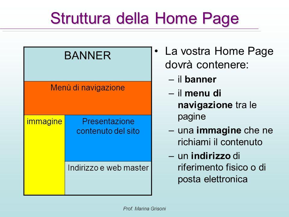 Prof. Marina Grisoni Struttura della Home Page La vostra Home Page dovrà contenere: –il banner –il menu di navigazione tra le pagine –una immagine che
