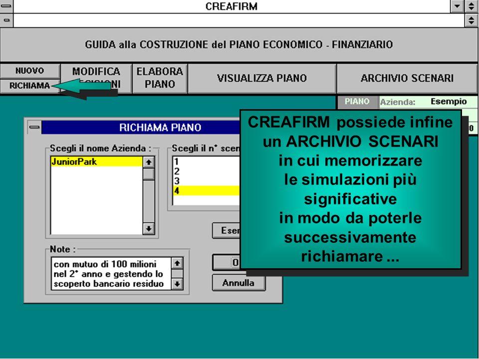 CREAFIRM possiede infine un ARCHIVIO SCENARI in cui memorizzare le simulazioni più significative in modo da poterle successivamente richiamare...