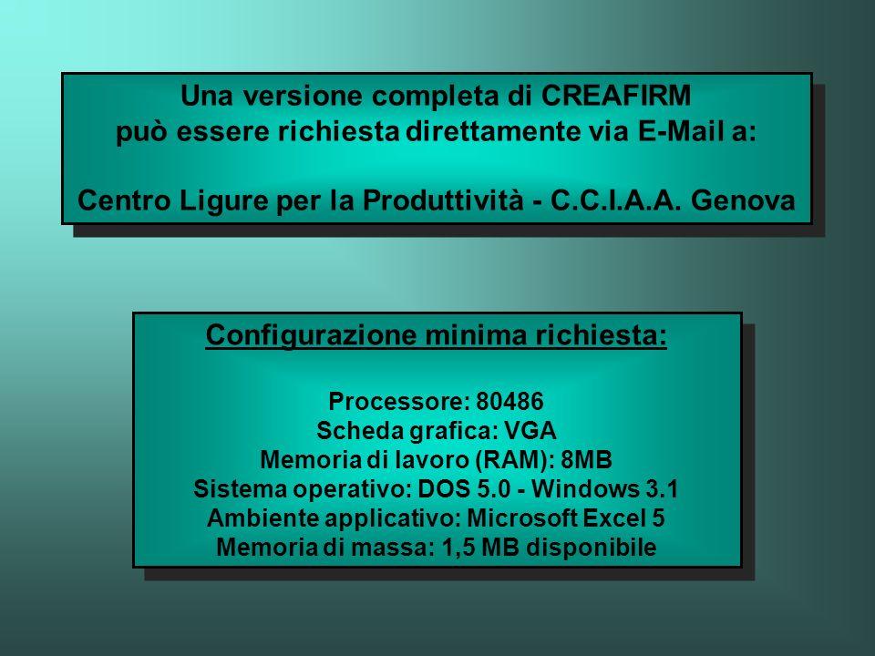 Una versione completa di CREAFIRM può essere richiesta direttamente via E-Mail a: Centro Ligure per la Produttività - C.C.I.A.A. Genova Configurazione