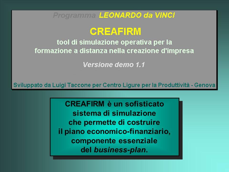 CREAFIRM è un sofisticato sistema di simulazione che permette di costruire il piano economico-finanziario, componente essenziale del business-plan.