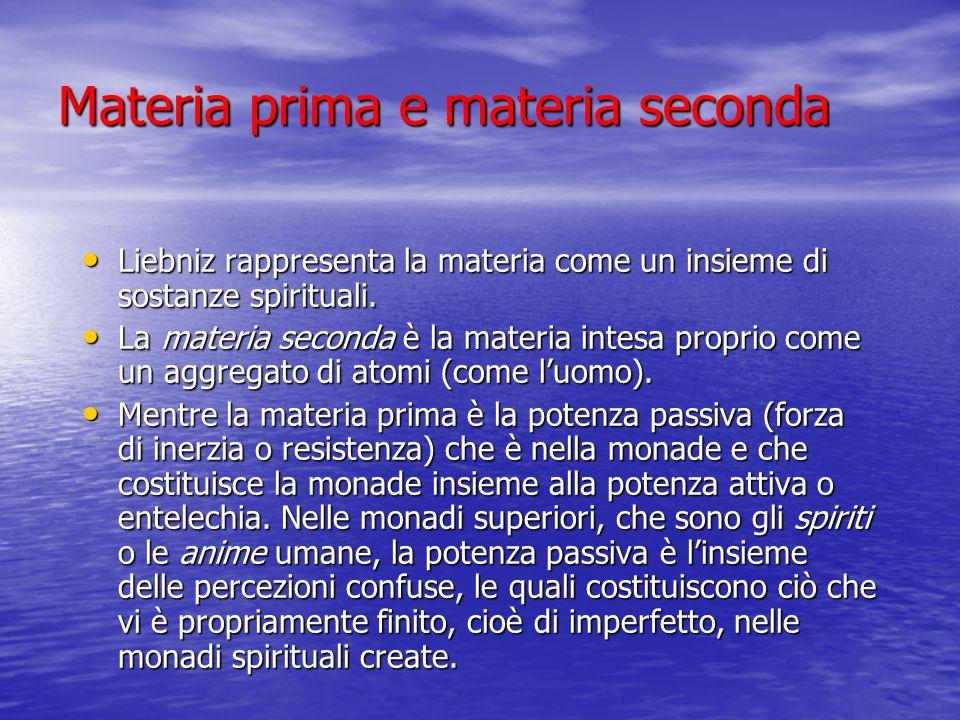 Materia prima e materia seconda Liebniz rappresenta la materia come un insieme di sostanze spirituali. Liebniz rappresenta la materia come un insieme