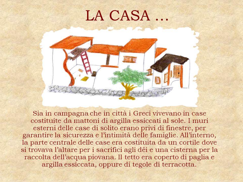 LA CASA … Sia in campagna che in città i Greci vivevano in case costituite da mattoni di argilla essiccati al sole. I muri esterni delle case di solit