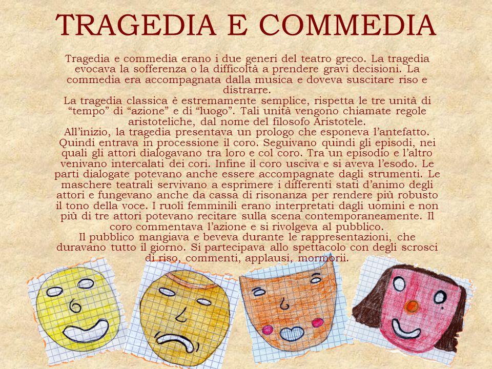 TRAGEDIA E COMMEDIA Tragedia e commedia erano i due generi del teatro greco. La tragedia evocava la sofferenza o la difficoltà a prendere gravi decisi