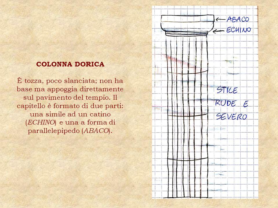 COLONNA DORICA È tozza, poco slanciata; non ha base ma appoggia direttamente sul pavimento del tempio. Il capitello è formato di due parti: una simile