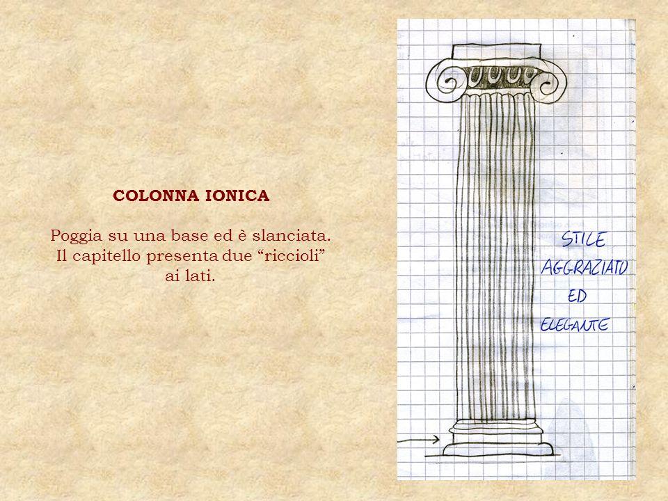 COLONNA IONICA Poggia su una base ed è slanciata. Il capitello presenta due riccioli ai lati.