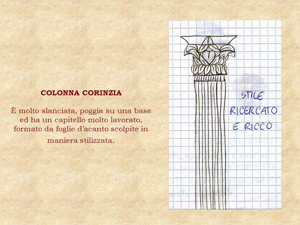 COLONNA CORINZIA È molto slanciata, poggia su una base ed ha un capitello molto lavorato, formato da foglie dacanto scolpite in maniera stilizzata.