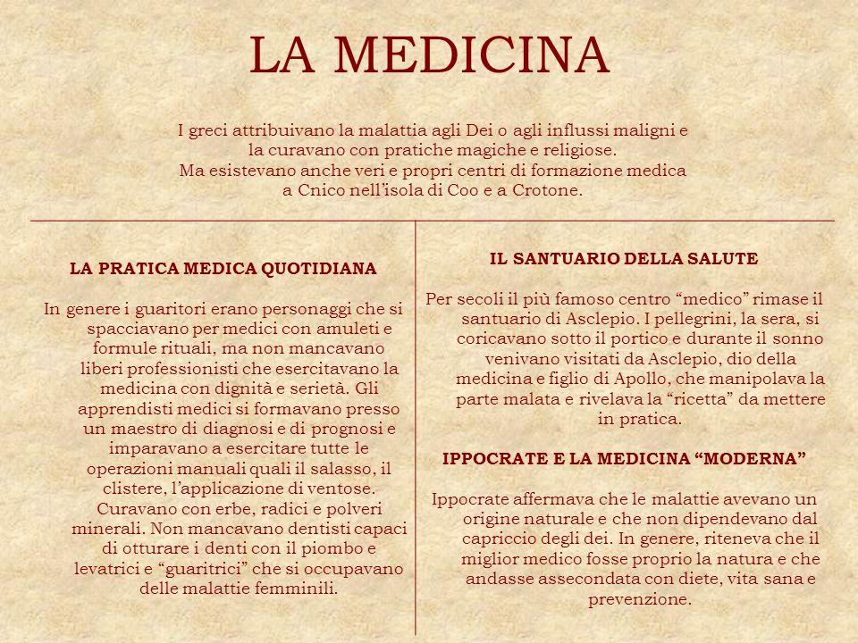 LA MEDICINA I greci attribuivano la malattia agli Dei o agli influssi maligni e la curavano con pratiche magiche e religiose. Ma esistevano anche veri