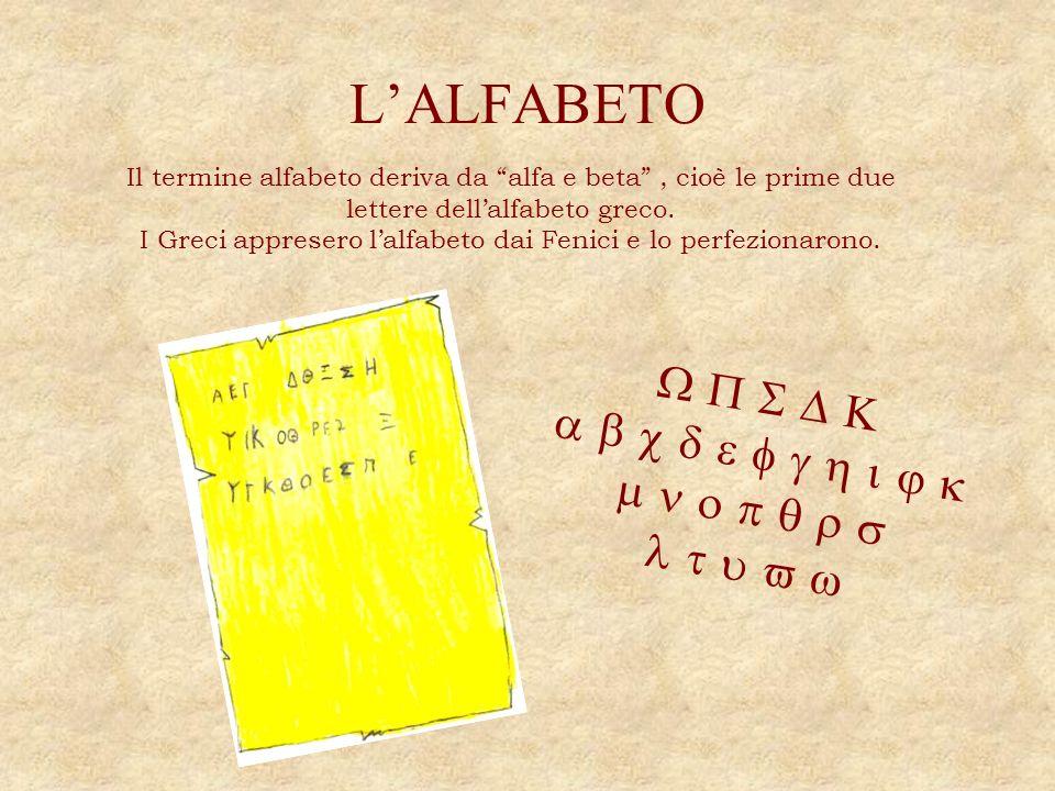 LALFABETO Il termine alfabeto deriva da alfa e beta, cioè le prime due lettere dellalfabeto greco. I Greci appresero lalfabeto dai Fenici e lo perfezi