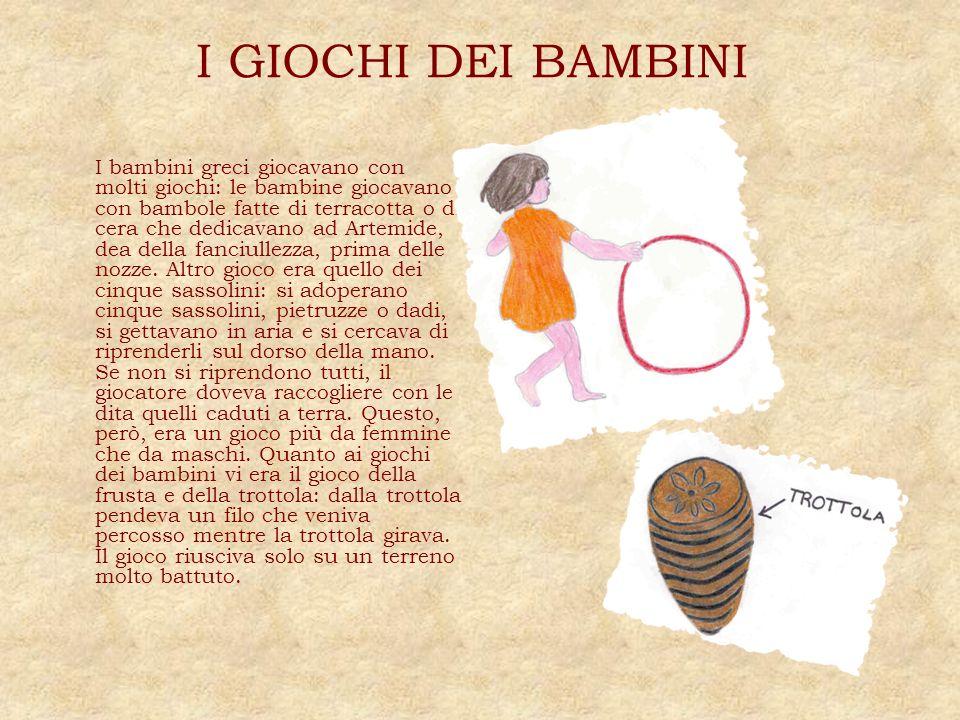 I GIOCHI DEI BAMBINI I bambini greci giocavano con molti giochi: le bambine giocavano con bambole fatte di terracotta o di cera che dedicavano ad Arte