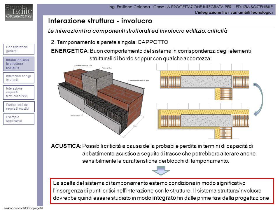 Interazione struttura - involucro Le interazioni tra componenti strutturali ed involucro edilizio: criticità La scelta del sistema di tamponamento esterno condiziona in modo significativo linsorgenza di punti critici nellinterazione con le strutture.