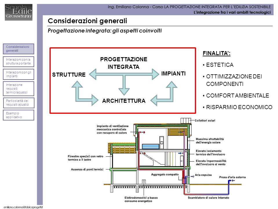 Considerazioni generali Interazioni con la struttura portante Considerazioni generali Interazioni con gli impianti Interazione requisiti termici/acust