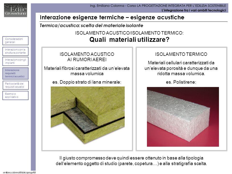 Interazione esigenze termiche – esigenze acustiche Termica/acustica: scelta del materiale isolante ISOLAMENTO ACUSTICO/ISOLAMENTO TERMICO: Quali mater