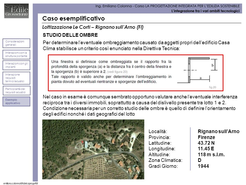 Caso esemplificativo Lottizzazione Le Corti – Rignano sullArno (FI) STUDIO DELLE OMBRE Località: Rignano sullArno Provincia: Firenze Latitudine: 43.72 N Longitudine:11.45 E Altitudine: 118 m s.l.m.