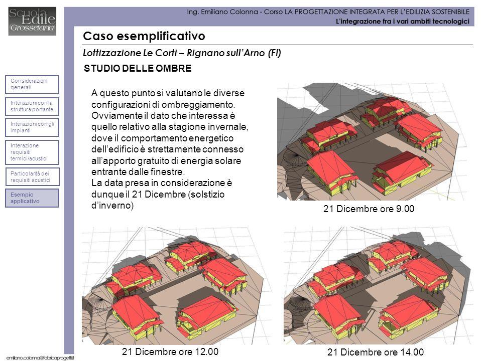 Caso esemplificativo Lottizzazione Le Corti – Rignano sullArno (FI) STUDIO DELLE OMBRE 21 Dicembre ore 9.00 A questo punto si valutano le diverse configurazioni di ombreggiamento.