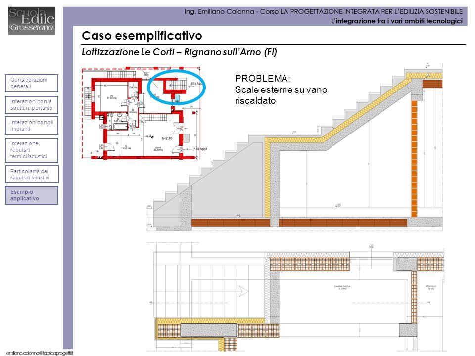 Caso esemplificativo Lottizzazione Le Corti – Rignano sullArno (FI) PROBLEMA: Scale esterne su vano riscaldato Interazioni con la struttura portante C