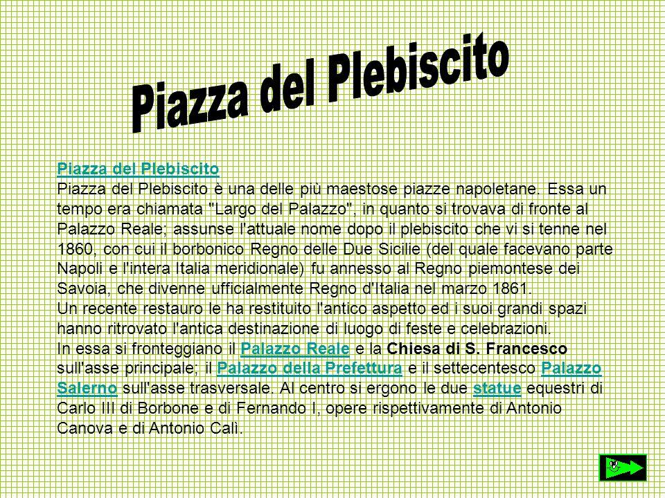 Piazza del Plebiscito Piazza del Plebiscito è una delle più maestose piazze napoletane. Essa un tempo era chiamata