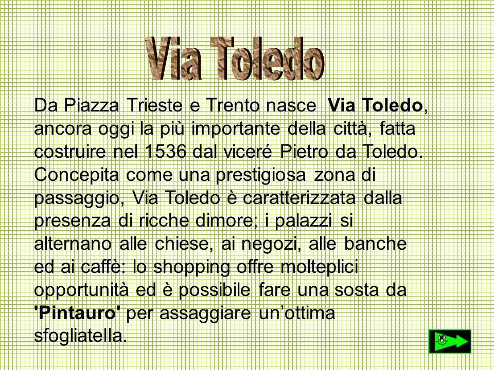 Da Piazza Trieste e Trento nasce Via Toledo, ancora oggi la più importante della città, fatta costruire nel 1536 dal viceré Pietro da Toledo. Concepit