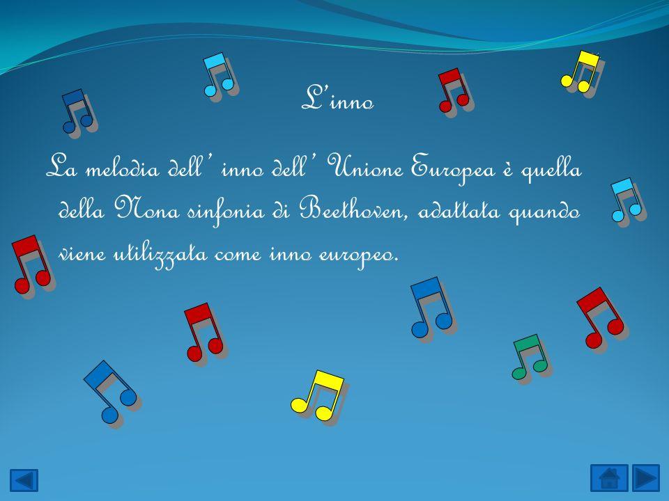 Linno La melodia dell inno dell Unione Europea è quella della Nona sinfonia di Beethoven, adattata quando viene utilizzata come inno europeo.