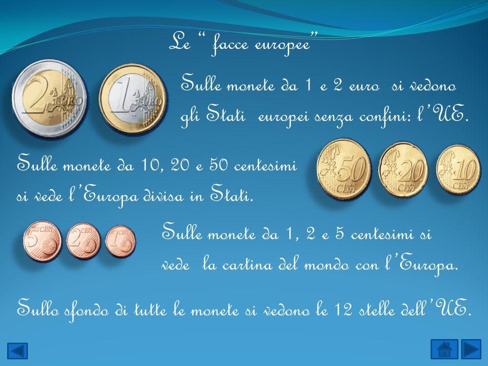 Le facce europee Sulle monete da 1, 2 e 5 centesimi si vede la cartina del mondo con lEuropa. Sulle monete da 10, 20 e 50 centesimi si vede lEuropa di