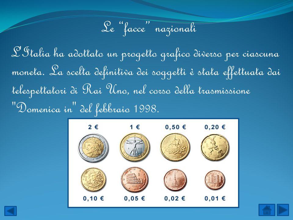 Le facce nazionali L'Italia ha adottato un progetto grafico diverso per ciascuna moneta. La scelta definitiva dei soggetti è stata effettuata dai tele