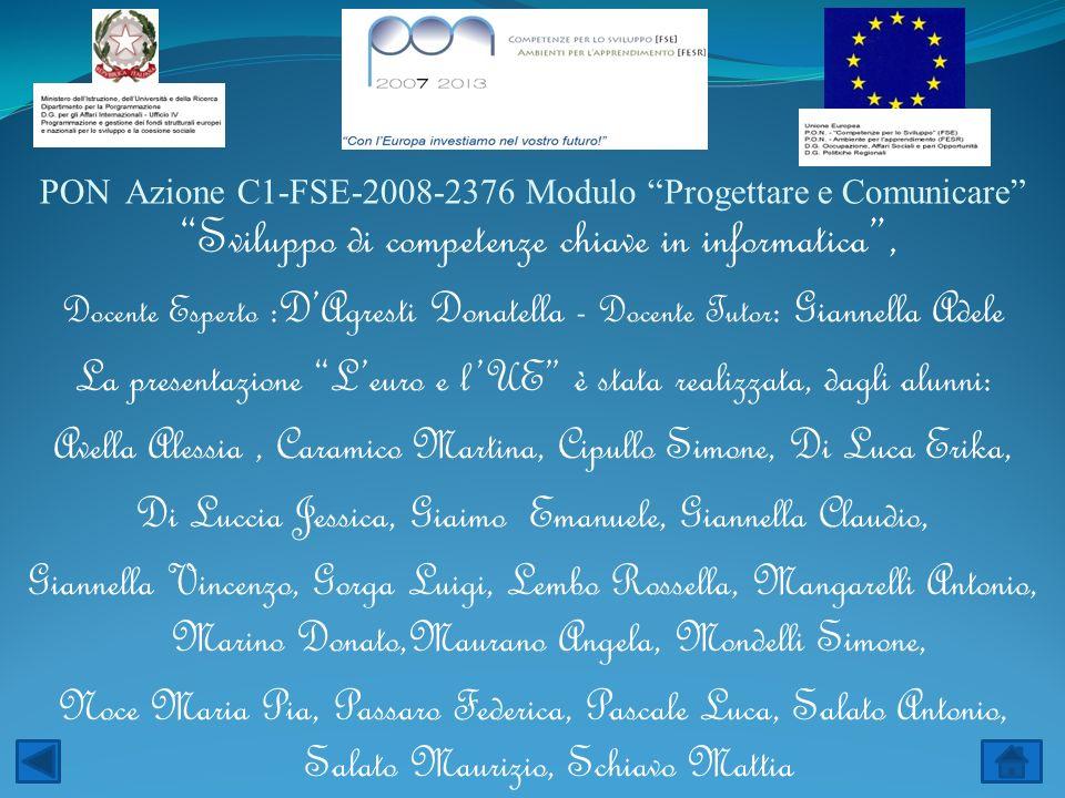 PON Azione C1-FSE-2008-2376 Modulo Progettare e Comunicare Sviluppo di competenze chiave in informatica, Docente Esperto :DAgresti Donatella - Docente