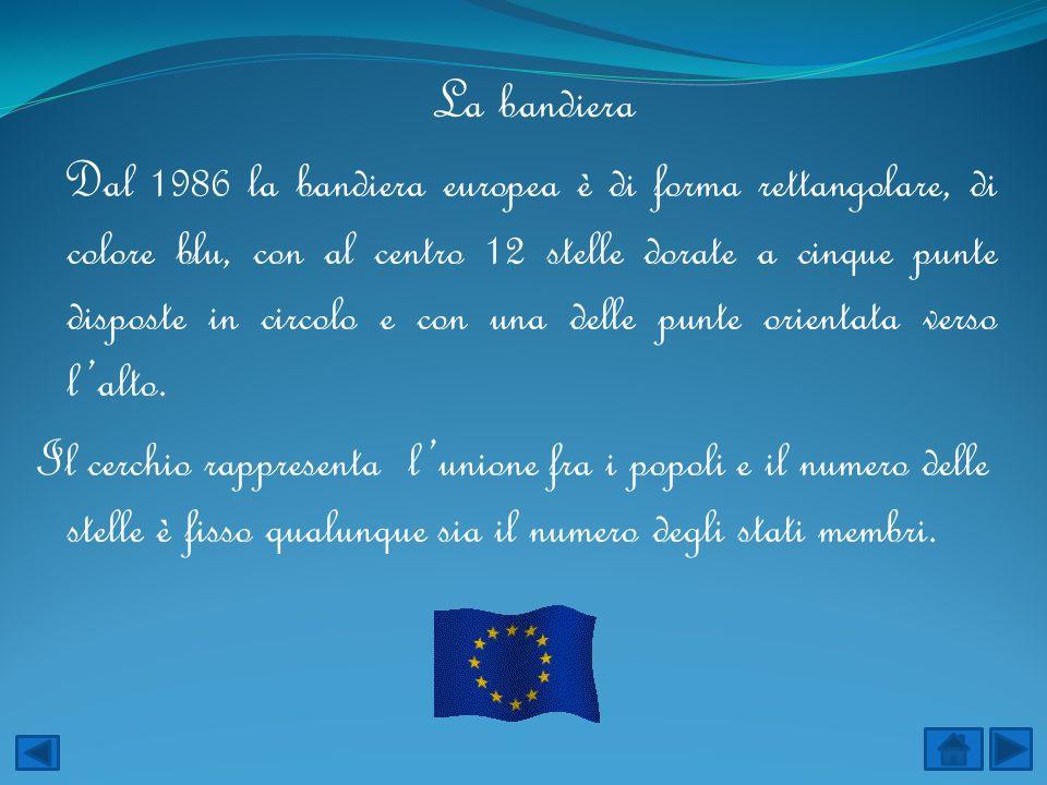 La bandiera Dal 1986 la bandiera europea è di forma rettangolare, di colore blu, con al centro 12 stelle dorate a cinque punte disposte in circolo e c