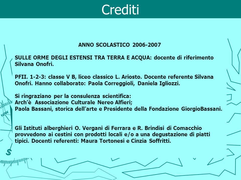 Crediti ANNO SCOLASTICO 2006-2007 SULLE ORME DEGLI ESTENSI TRA TERRA E ACQUA: docente di riferimento Silvana Onofri. PFII. 1-2-3: classe V B, liceo cl