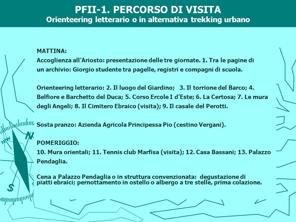 PFII-1. PERCORSO DI VISITA Orienteering letterario o in alternativa trekking urbano MATTINA: Accoglienza allAriosto: presentazione delle tre giornate.