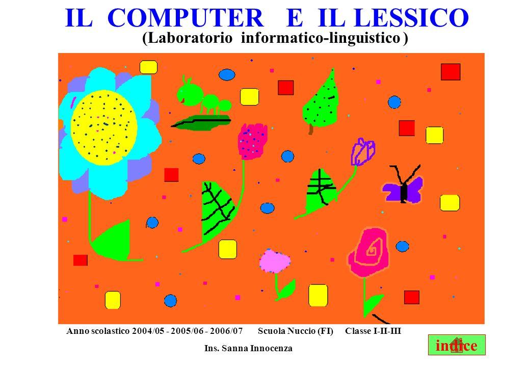 IL COMPUTER E IL LESSICO (Laboratorio informatico-linguistico ) Anno scolastico 2004/05 - 2005/06 - 2006/07 Scuola Nuccio (FI) Classe I-II-III Ins.