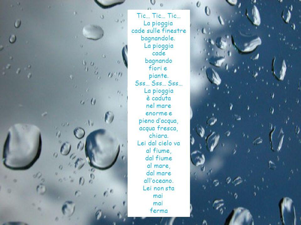 Tic… Tic… Tic… La pioggia cade sulle finestre bagnandole. La pioggia cade bagnando fiori e piante. Sss… Sss… Sss… La pioggia è caduta nel mare enorme
