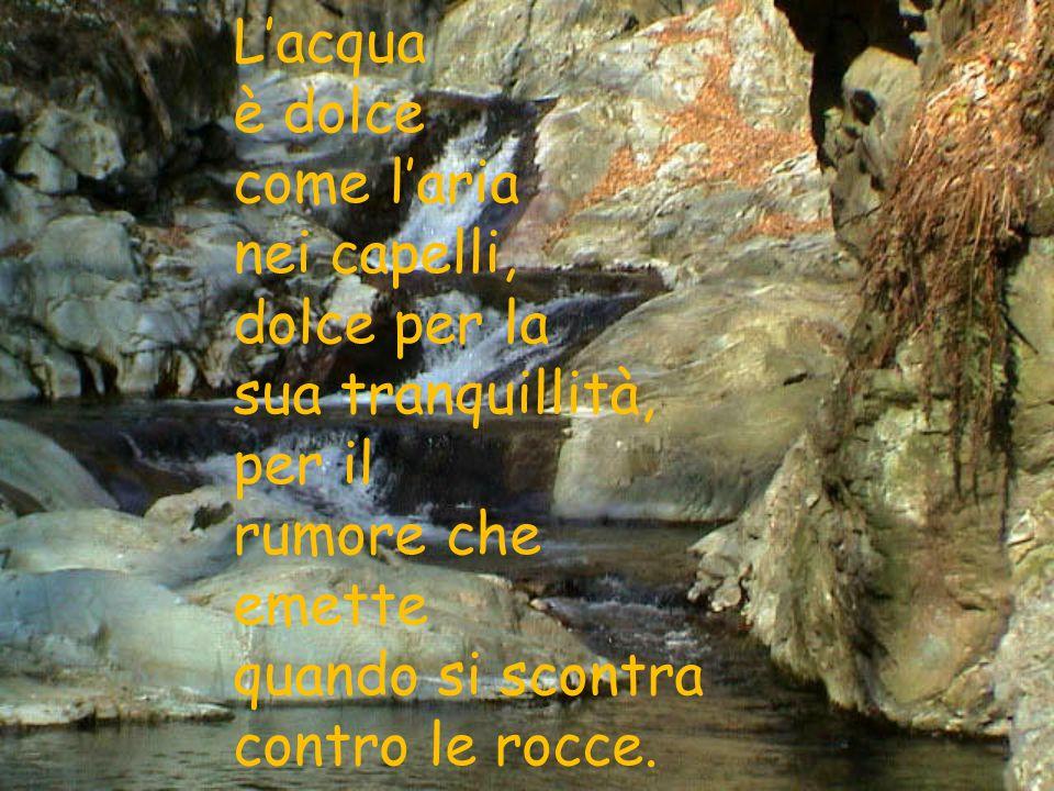 Lacqua è dolce come laria nei capelli, dolce per la sua tranquillità, per il rumore che emette quando si scontra contro le rocce.