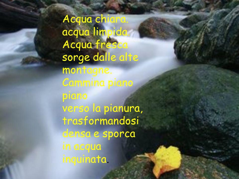 Acqua chiara. acqua limpida. Acqua fresca sorge dalle alte montagne. Cammina piano piano verso la pianura, trasformandosi densa e sporca in acqua inqu
